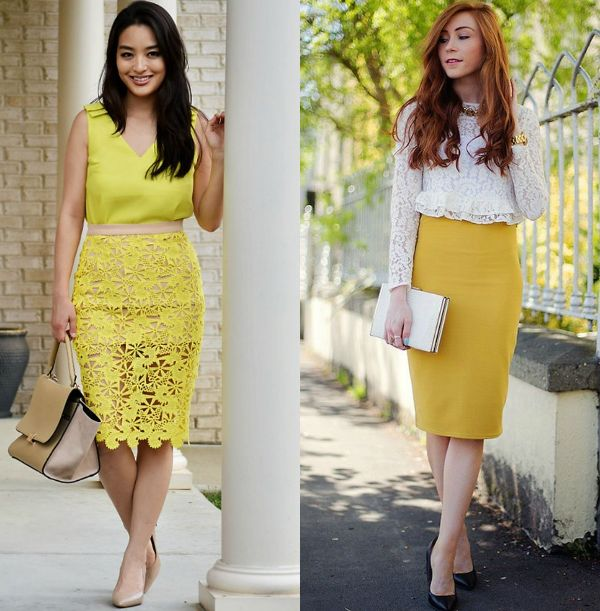 Pencil skirt outfits | Yellow high waisted pencil skirt outfit