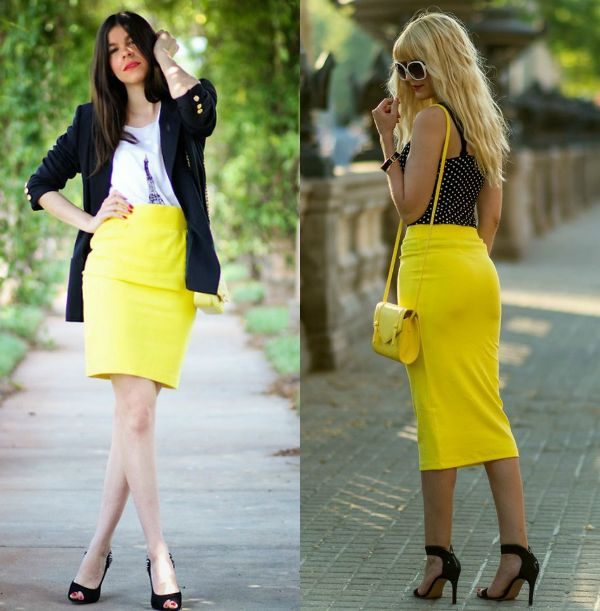 Pencil skirt outfits | Yellow pencil skirt outfit