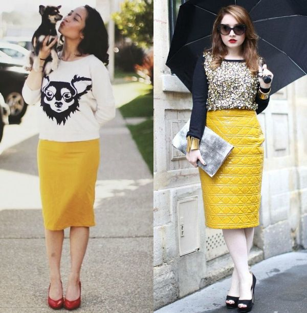 Pencil skirt outfits | Yellow pencil skirt outfits