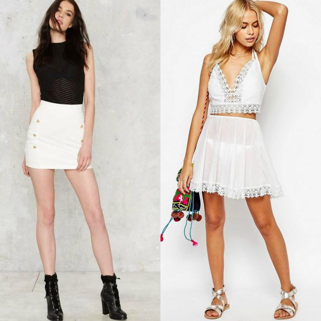 Short white skirt for girls