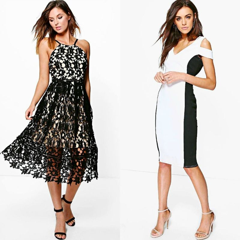 Black and white cocktail dresses for women