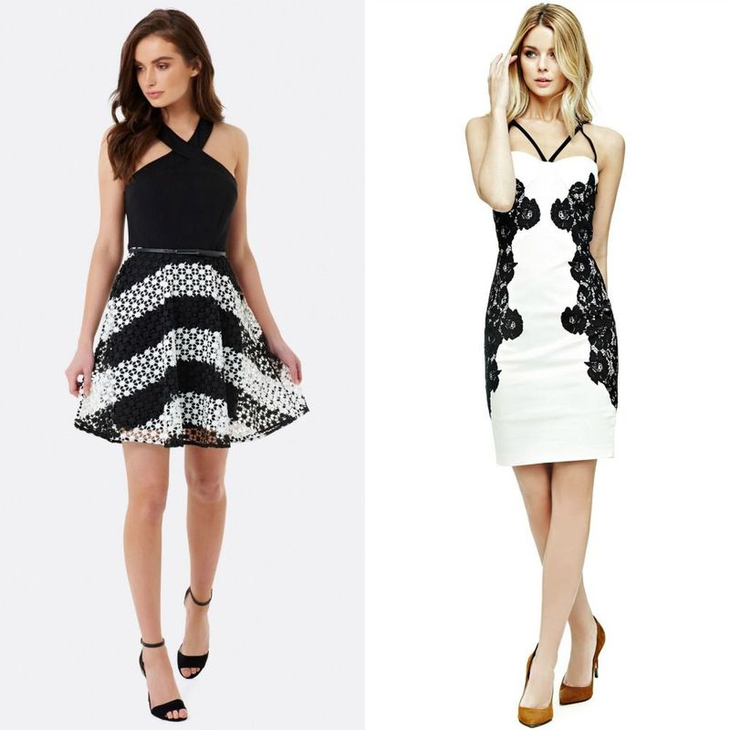 Short black and white cocktail dresses for women
