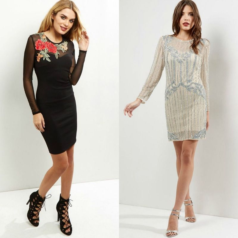 Long sleeve cocktail party dresses