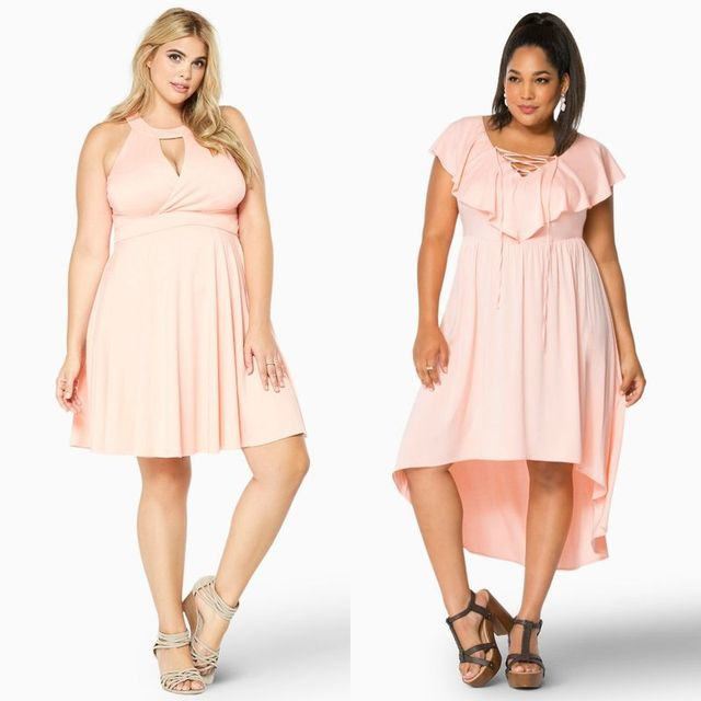Plus size clubwear with pink dresses