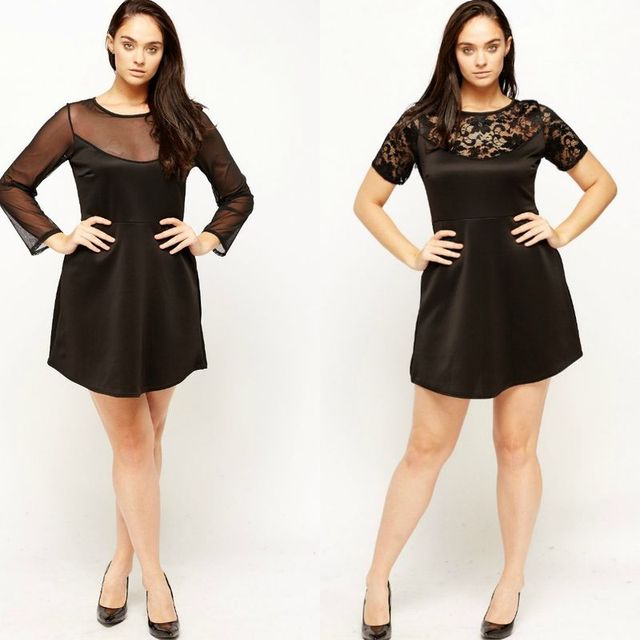 Plus size club outfit with short black dress