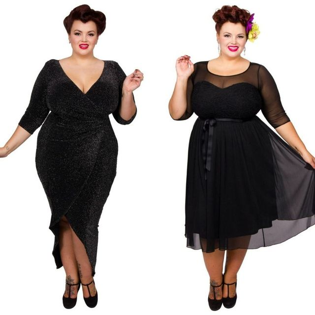 Plus size clubbwear with black dresse