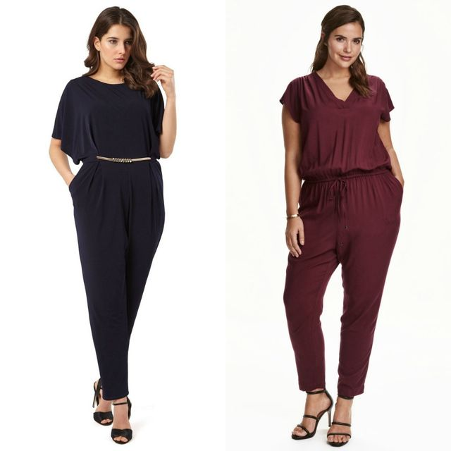 Plus size club outfits with mono colored jumpsuits