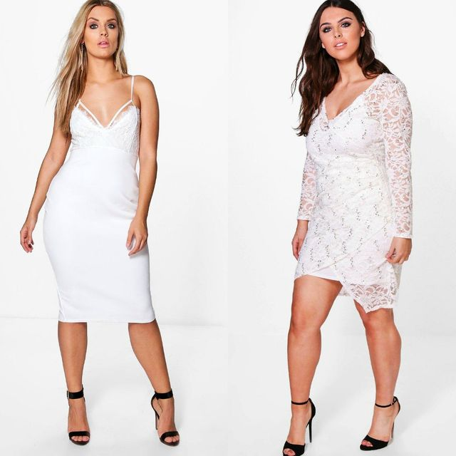 Club outfits with plus size white dress
