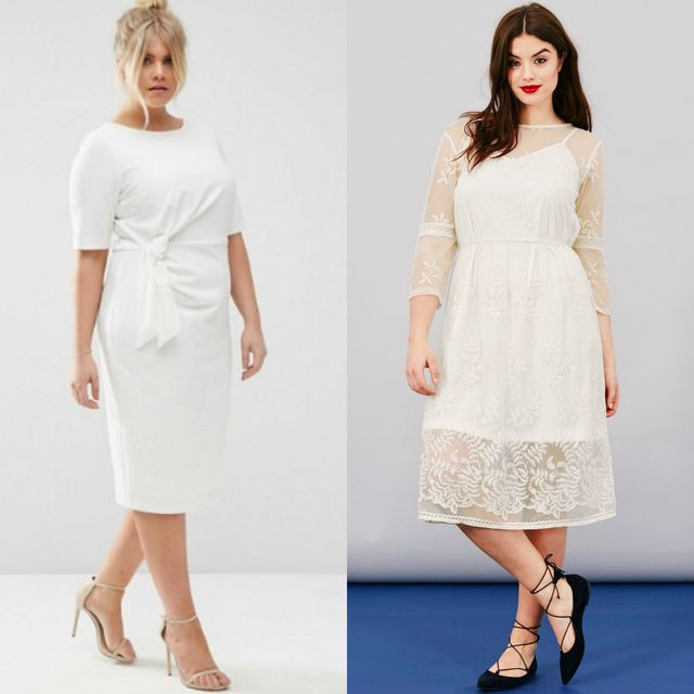 Plus size club outfit with white dress