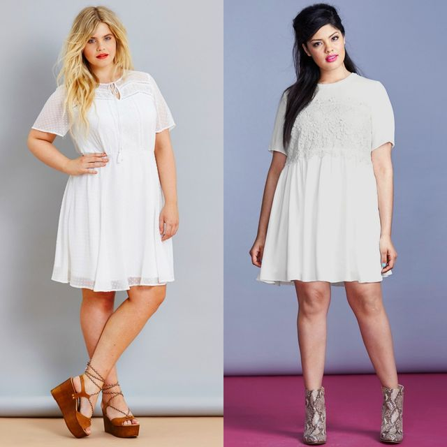Plus size club outfits with short white dresses