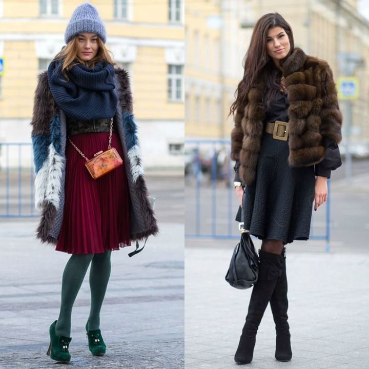 Street fashion with faux fur coat