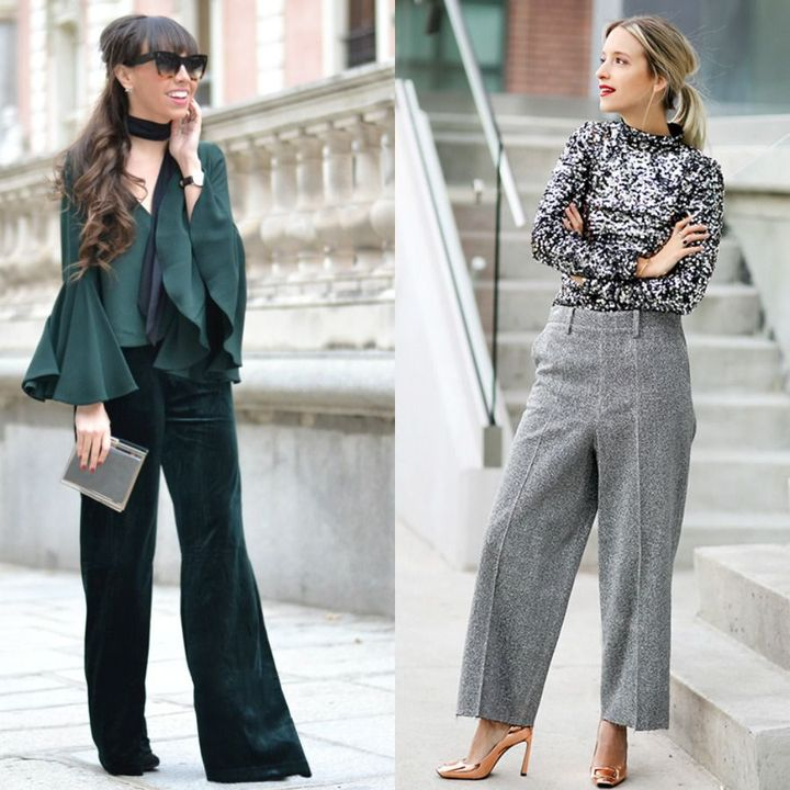 Elegant night out winter outfits with trousers