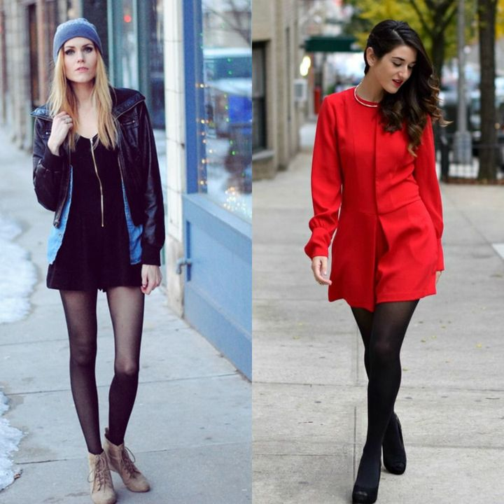 Short winter night out outfits with rompers