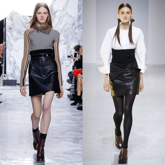 Trendy leather skirts outfits | Fall Winter Black leather skirt outfits