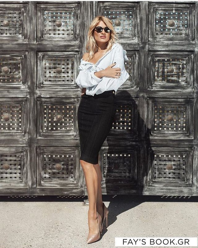 Try an outfit with a black pencil skirt, an off-shoulder blouse and nude stilettos
