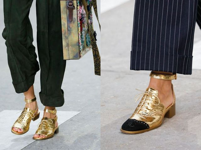 Shoes With Block Heels | Gold block heel shoes