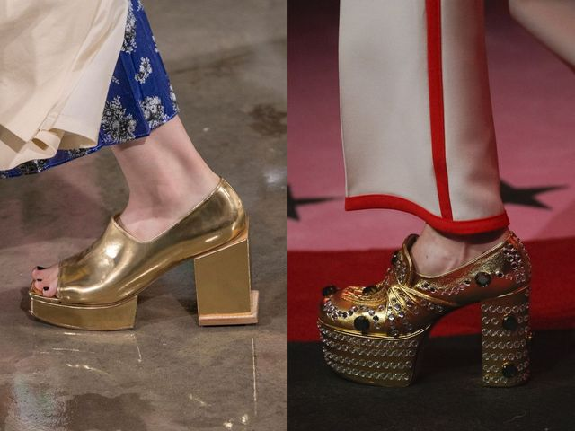Shoes With Block Heels | Gold block heel shoes for women