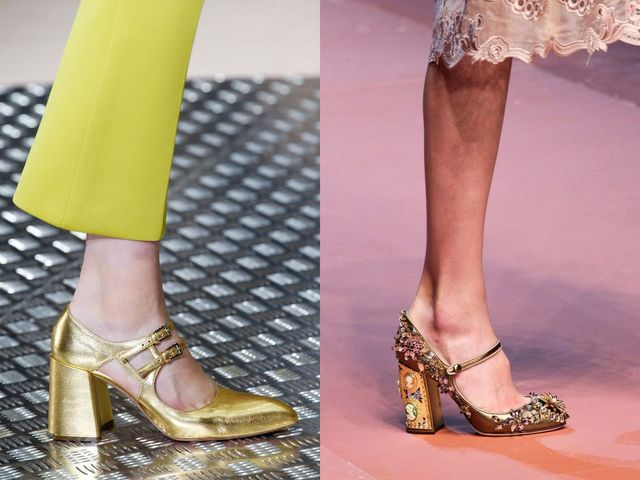 Shoes With Block Heels | Gold block heel shoes with straps