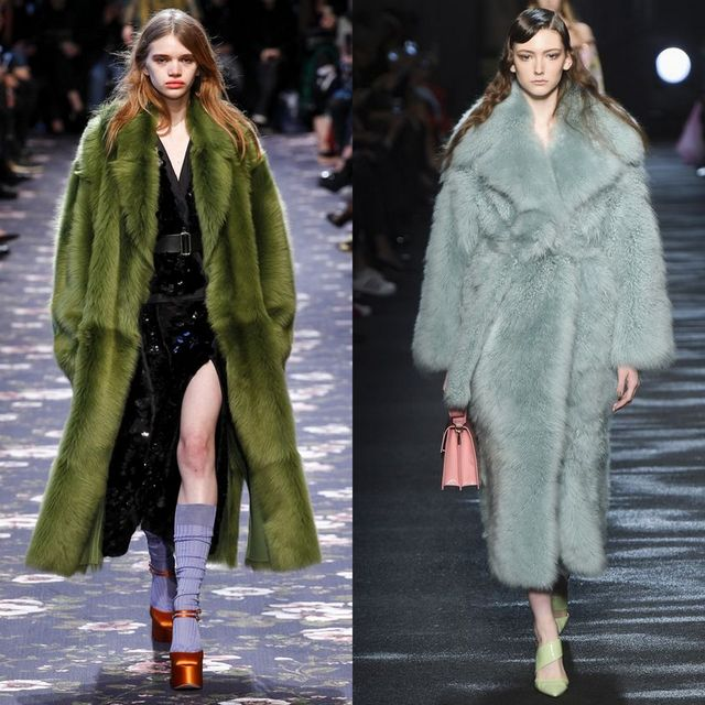 Long coats made of faux fur