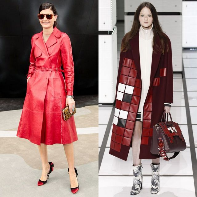 Long winter coats | Leather red winter coat