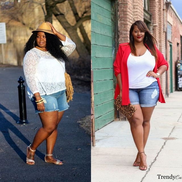 Plus size shorts outfits | Plus size denim shorts