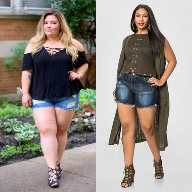 Plus size shorts outfits | Plus size denim shorts for ladies