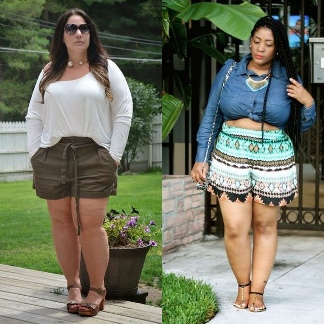 Plus size high waisted shorts outfit for women