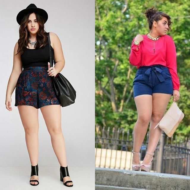 Plus size shorts outfits | Plus size high waisted shorts for ladies