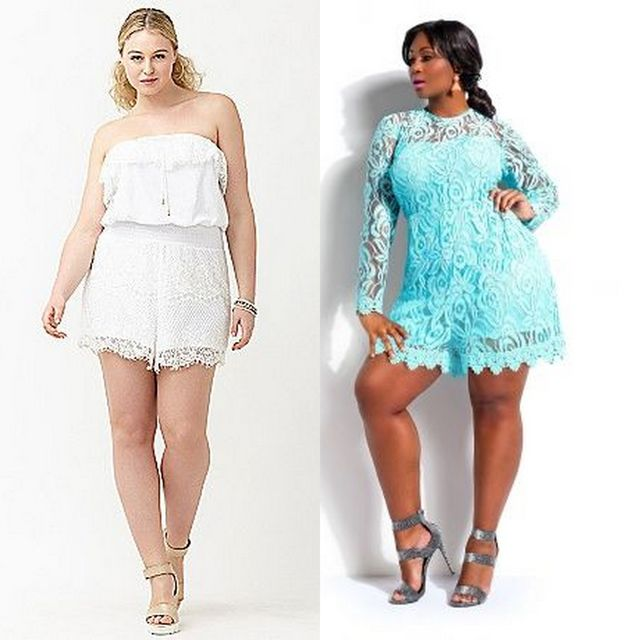 Plus size lace shorts outfit ideas for ladies