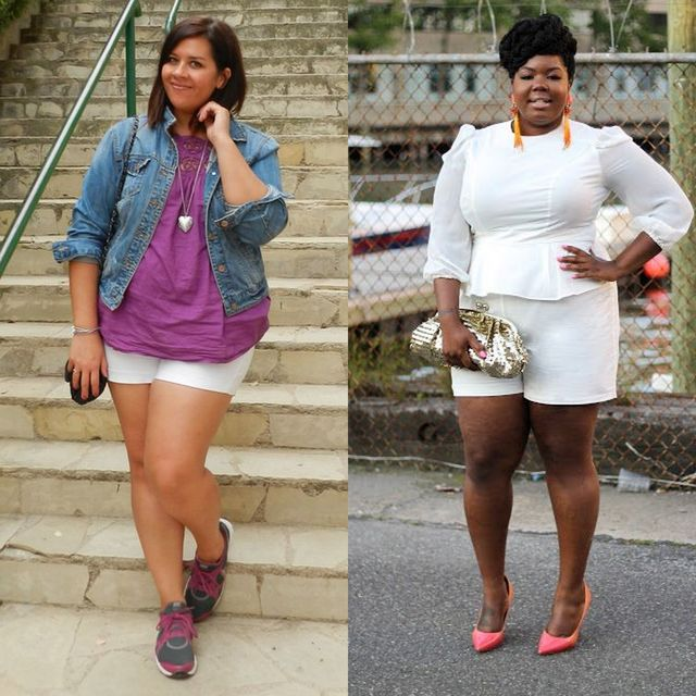 Plus size shorts outfits | Plus size white short outfits
