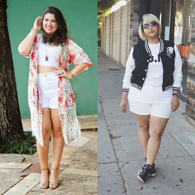 Plus size shorts outfits | Plus size white short outfits for ladies