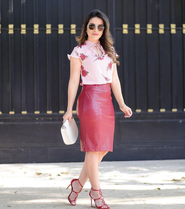 Beautiful outfit with a red leather pencil skirt , high heels and elegant blouse