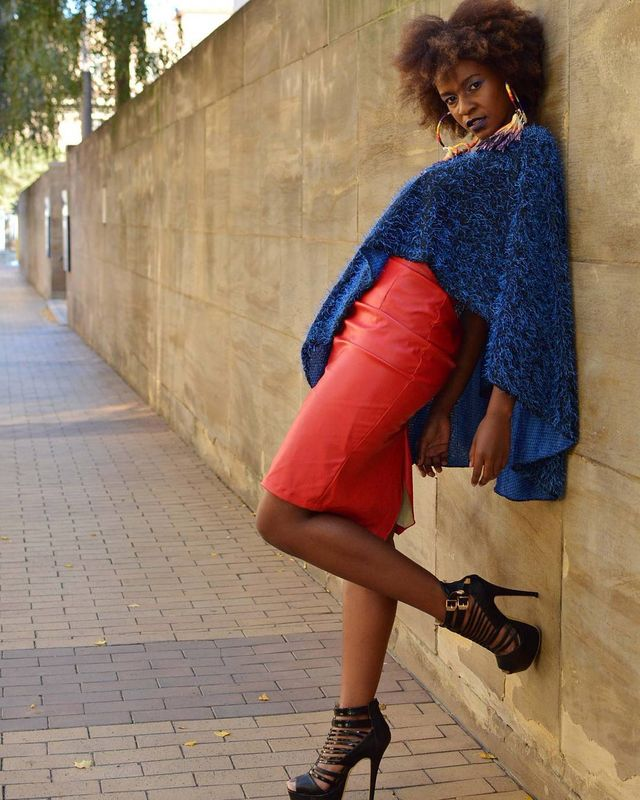 Gorgeous midi pencil skirt red leather skirt outfit with platforms and blue cape