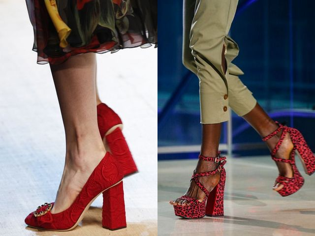 Shoes With Block Heels | Red block heel shoes