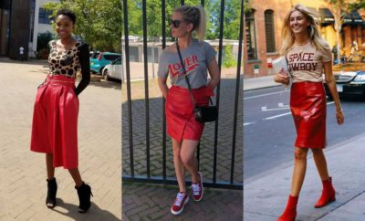 26 Beautiful Red Leather Skirt Outfit Ideas You Should See | Outfits - GlossyU