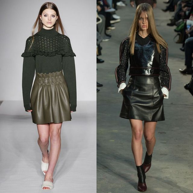 Trendy leather skirts outfits | Fall Winter Short leather skirt outfits