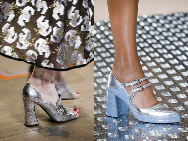 Shoes With Block Heels | Silver block heel shoes
