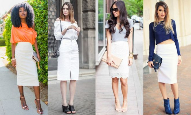 White pencil skirt outfits