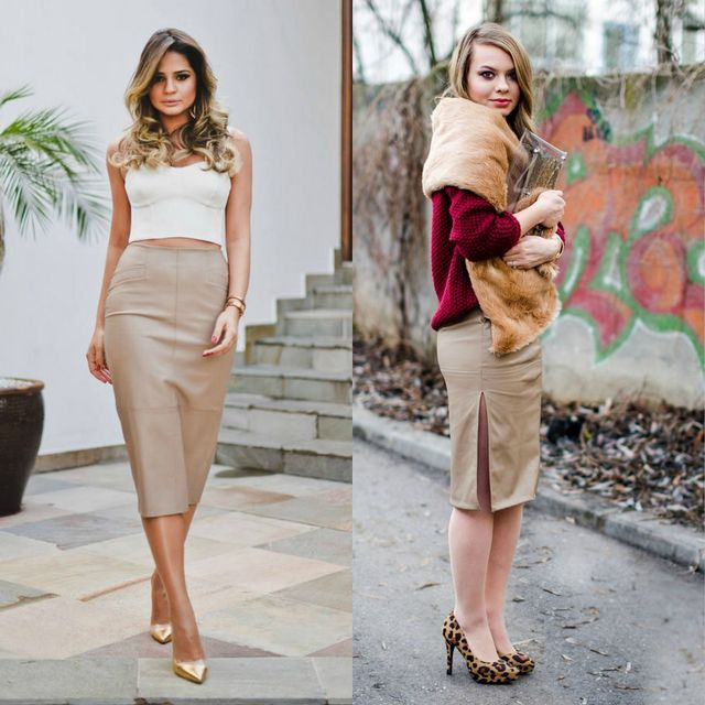 Beige leather pencil skirt outfits