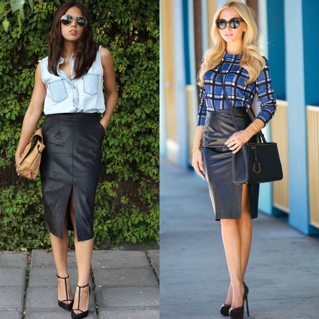 Black high waisted skirt outfit idea
