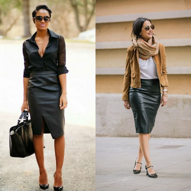 Black leather skirt outfits
