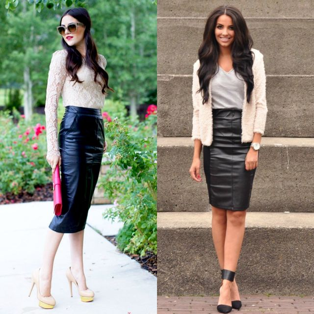 Few pencil skirts outfits with black leather skirts for ladies