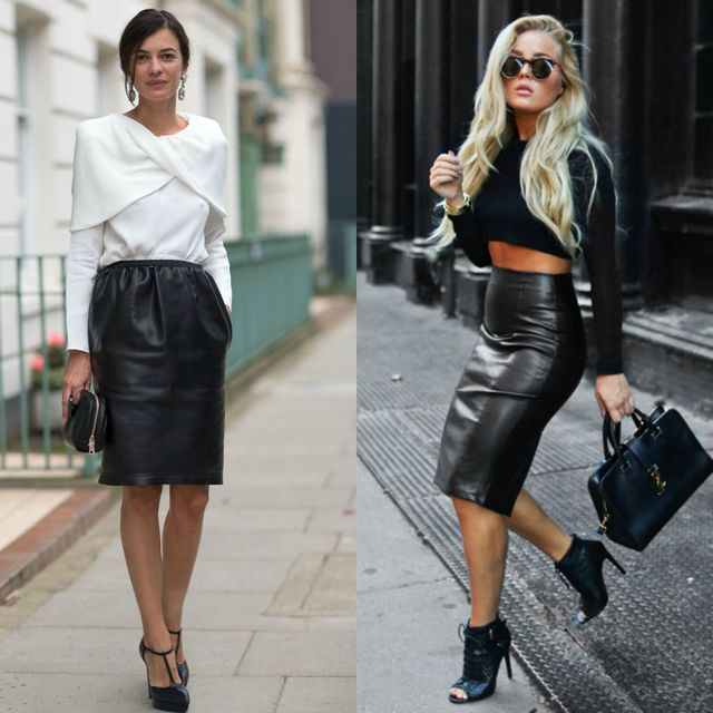 Build head-turning outfits associating crop tops with high-waist leather skirts