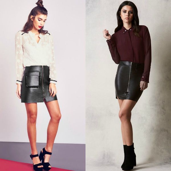 Short black leather skirt