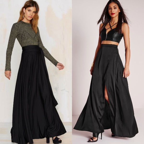 Black maxi skirt for women