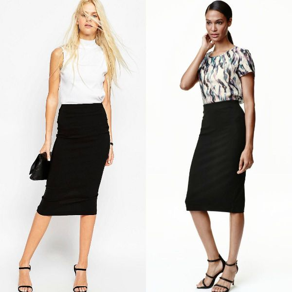Black pencil skirt for women