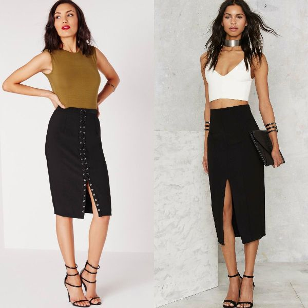 Midi black pencil skirt