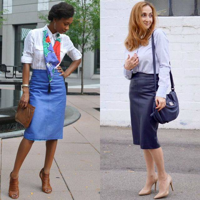 Blue leather skirt outfits