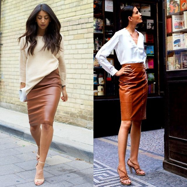 # Sexy Leather Pencil Skirt Outfit. A leather pencil skirt in brown color looks very sexy is paired with a cream body-hugging crop top. Add a few inches to height with heels, while a stunning necklace and cuff bracelet added some flair to your look. This is the fashion forward which you always desired for.