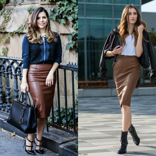 Brown leather pencil skirt outfits